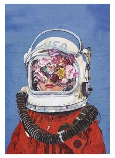 MarkaEv Canvas Astronot Kadın Yağlı Boya Görünümlü Tablo 0057 Renkli